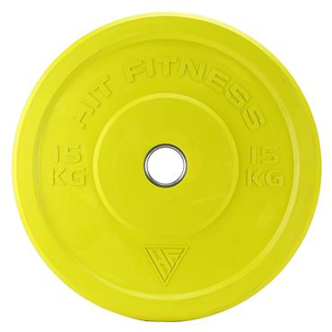 Hit Fitness 15kg Semi-Commercial Coloured Rubber Bumper Plate