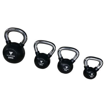Hit Fitness 10kg Rubber Kettlebell with Chrome Handle