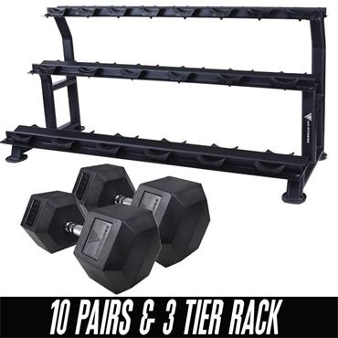 Hit Fitness Hex Dumbbell 10 Pair Pack & Rack |  5KG - 30KG