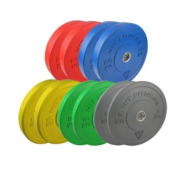 Hit Fitness 150kg Coloured Olympic Rubber Bumper Plate Set | Commercial