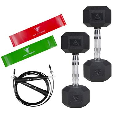 Hit Fitness Home Workout Package with 4kg Dumbbells