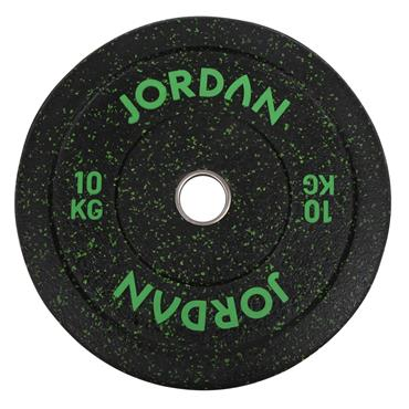 HG Black Rubber Bumper Plate - Coloured Fleck 10kg - Green