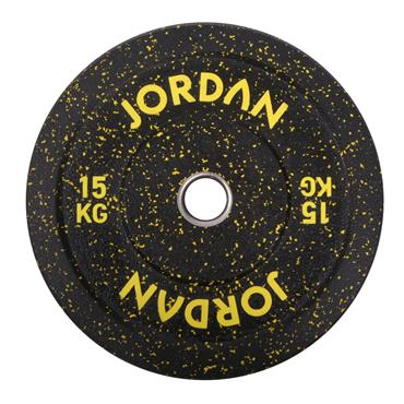 HG Black Rubber Bumper Plate - Coloured Fleck 15kg - Yellow