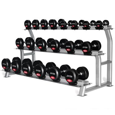 Jordan 10 Pair 3 Tier Dumbbell Rack with Saddles (Silver Oval Frame)