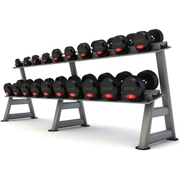 Jordan 12 Pair, 2 Tier Dumbbell Rack with Saddles (Silver Oval Frame)