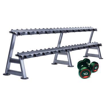 Jordan Rubber Solid End D/Bells 2.5 - 50kg & 2 x 10 Pair 2 Tier Rack