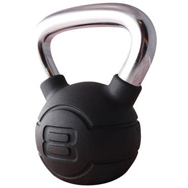 Jordan Black Rubber Kettlebell With Chrome Handle  | 8kg