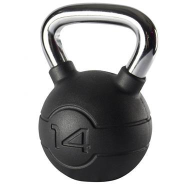 Jordan Black Rubber Kettlebell With Chrome Handle | 14kg