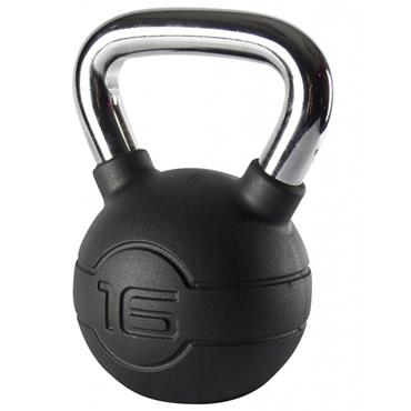 Jordan Black Rubber Kettlebell With Chrome Handle | 16kg