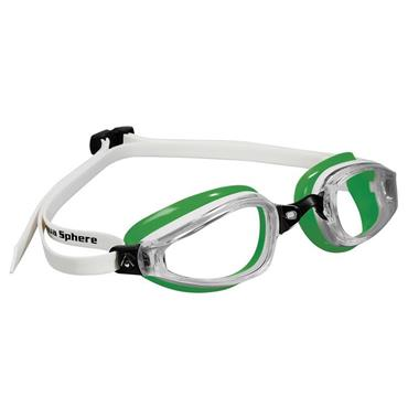AquaSphere K180 Adult Goggle Clear Lens | White/Green