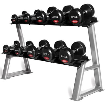 Jordan 5 Pair, 2 Tier Dumbell Rack With Saddles