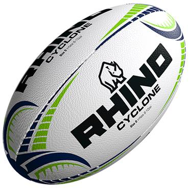 Rhino Cyclone Training Rugby Ball | White/Green