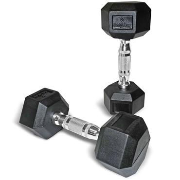 Bodymax Rubber Hex Dumbbells (Pairs) | 1kg
