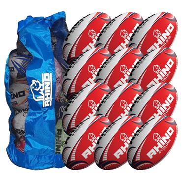 Rhino Cyclone Red Training Ball 12 Pack with Carry Bag | Size 5