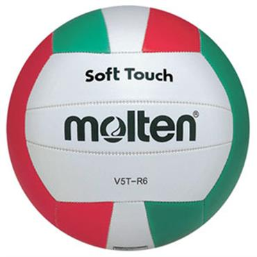 MOLTEN VOLLEYBALL-SOFT TOUCH WHT/RED/GRN SIZE 5