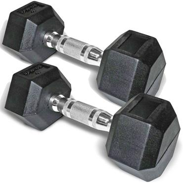 Bodymax Rubber Hex Dumbbells (Pairs) | 10kg