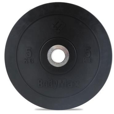 BodyMax Olympic Black Rubber Bumper Plates | 5Kg