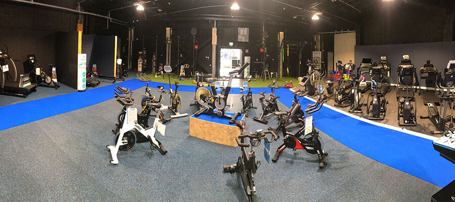 spin bikes in new showroom