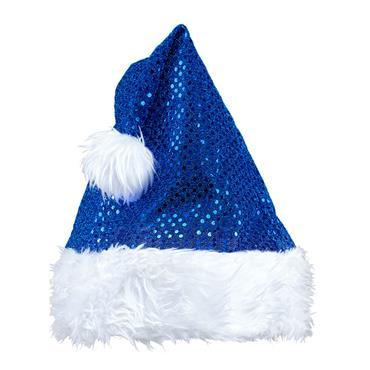Blue Sequin Santa Claus Hat
