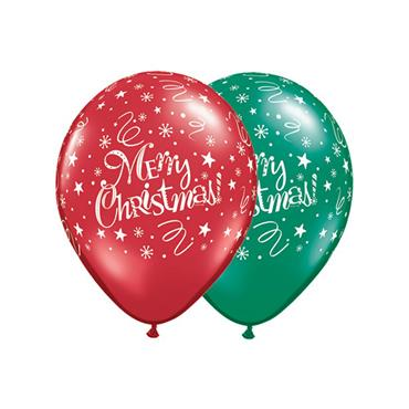 "11"" Red & Green Christmas Festive Balloons (25 pk)"