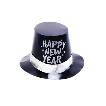 New Year Foil Glitter Top Hat Black
