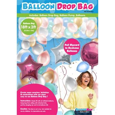 18ft x 3ft Balloon Drop Bag c/w Balloons