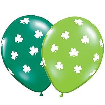 Big Shamrocks Qualatex Balloons Assorted Lime & Emerald - Pack of 25