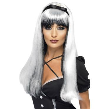 Bewitching Wig, Silver Over Black