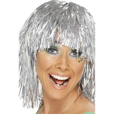 Cyber Tinsel Wig, Silver, Metallic