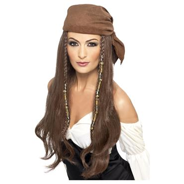 Brown Pirate Wig with Bandana
