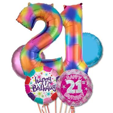 21ST Birthday Multi Colour Foil Balloon Bouquet Delivery – Standard