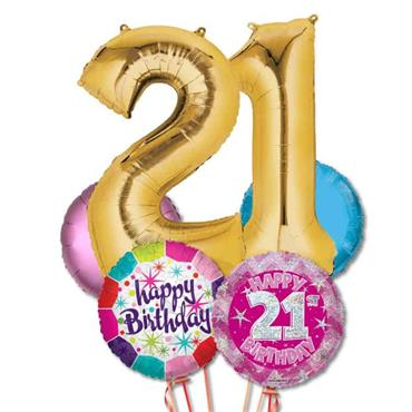 21ST Birthday Foil Balloon Bouquet Delivery – Standard