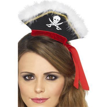 Mock Pirate Hat On Headband,Black