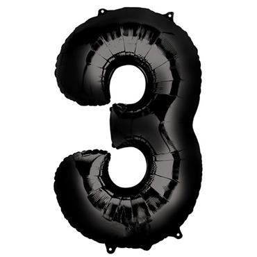 "34"" Black Number 3 Balloon"