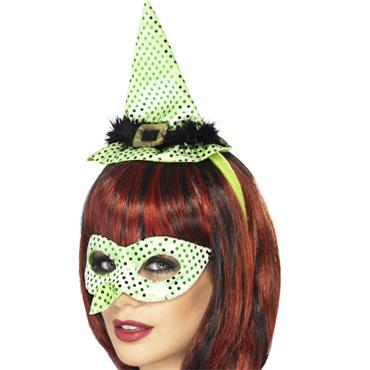 Wicked Venetian Eye Mask With Witches Nose and Mini Hat