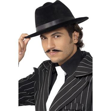 Gangster Hat Black Velour, Black