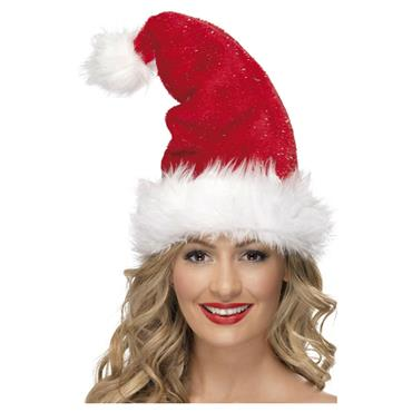 SANTA HAT Deluxe With Tinsel
