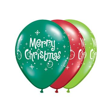 "11"" Assorted Christmas Ornament Balloons (25 pk)"