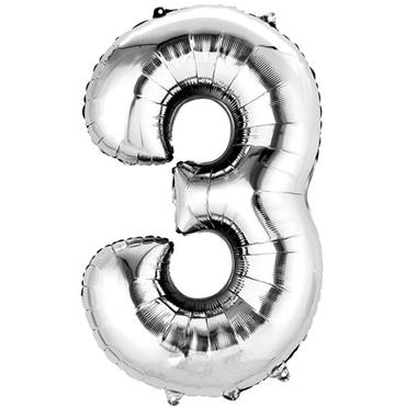 "34"" Silver Number 3 Balloon"