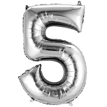 "34"" Silver Number 5 Balloon"