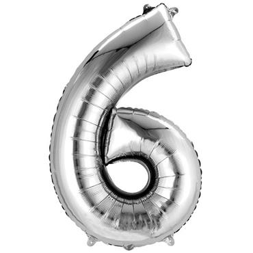"34"" Silver Number 6 Balloon"