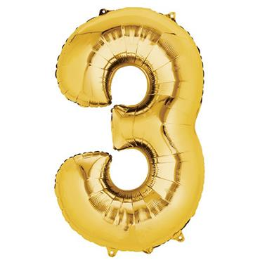 "34"" Gold Number 3 Balloon"