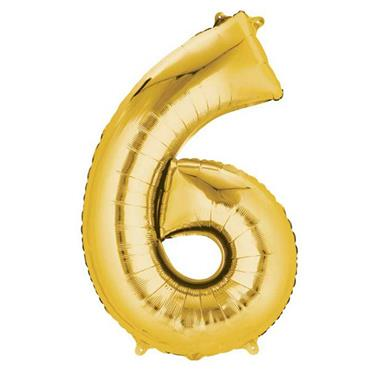 "34"" Gold Number 6 Balloon"