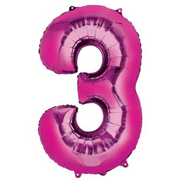 "34"" Pink Number 3 Balloon"