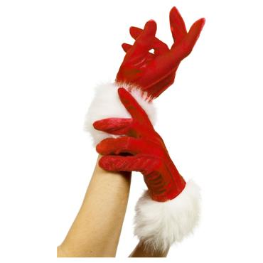 SANTA GLOVES RED LADIES WITH F