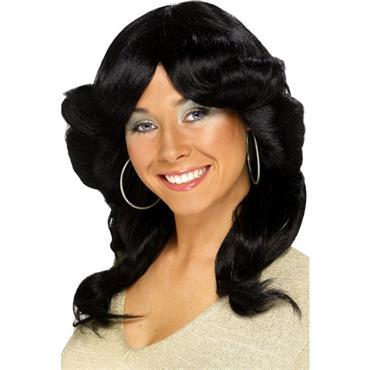 Seventies Flick Black Wig