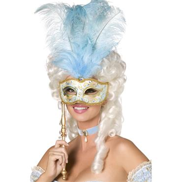 Fever Boutique Baroque Fantasy Eyemask, Blue and Gold