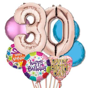30TH Birthday Foil Balloon Bouquet Delivery – Deluxe