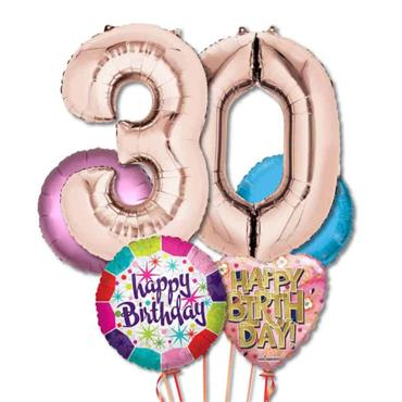 30TH Birthday Foil Balloon Bouquet Delivery – Standard