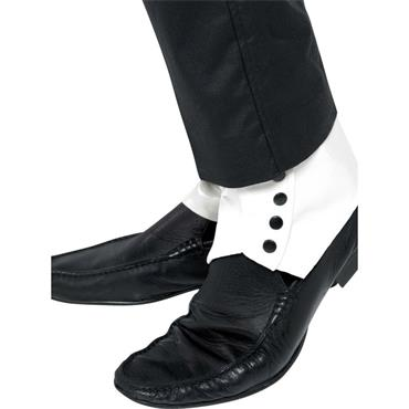 Spats, White With Black Buttons